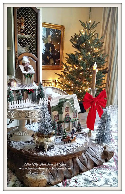 Putz Houses-Christmas Dining Room-Christmas Village Vignettes- From My Front Porch To Yours