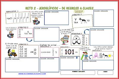 Jeroglíficos, De regreso a clases, De vuelta al cole, De vuelta al colegio, Jeroglíficos escolares, Jeroglíficos para niños, desafíos matemáticos, problemas matemáticos, retos matemáticos