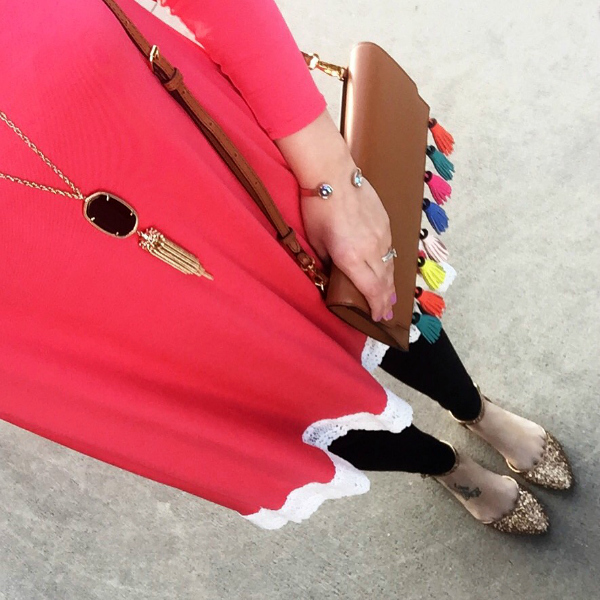 rebecca minkoff bag, glitter shoes, tassel necklace