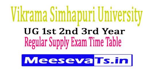 Vikram Simhapuri University UG 1st 2nd 3rd Year Regular Supply Time Table 2018