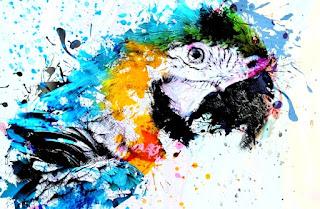 Contoh Lukisan Abstrak Burung Bayan (Betet)