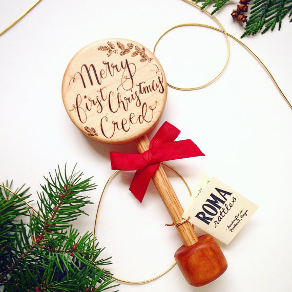 Personalized wooden Baby's First Christmas rattle