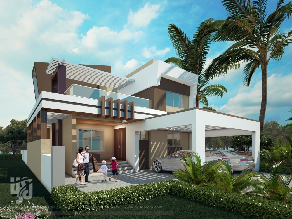 3d architectural visualization 3d exterior design day for Modern bungalow elevation