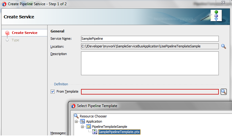 OSB 12c Use Pipeline Template Specify Service Name