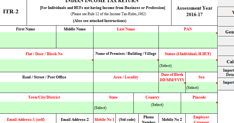 itr 2 itr 2a and itr 3 in excel format for ay 2016