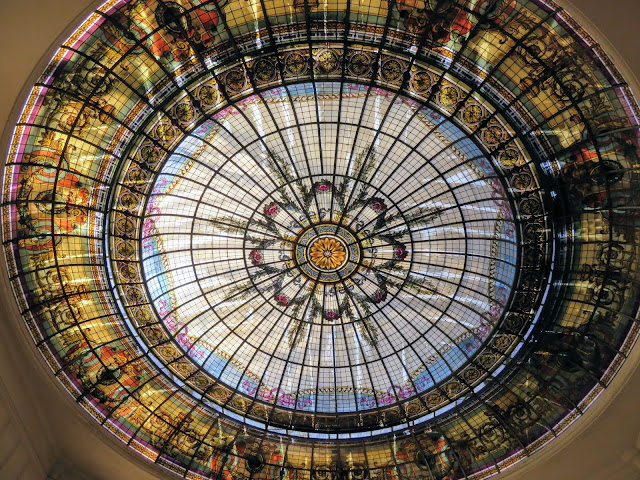 stained glass ceiling at the shopping arcade in Mendoza, Argentina