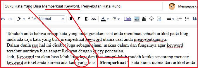 Penyebutan Kata Kunci pada artikel dan judul utama