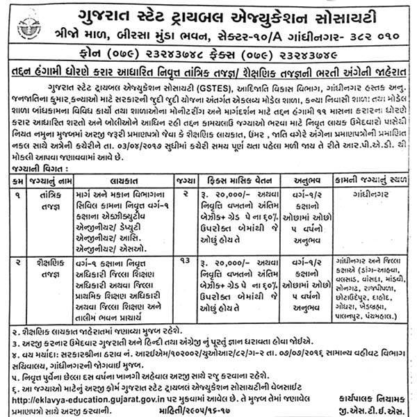 Gujarat State Tribal Education Society (GSTES) Recruitment 2017 for 15 Various Posts