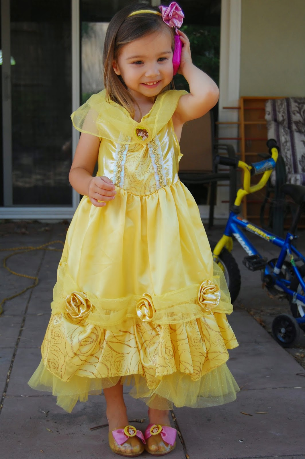 Sheu0027s talking on her princess phone because thatu0027s what they do you know. She puts the costume on then pretends to be Belle and calls her other princess ...  sc 1 st  Mama Sparkles & Mama Sparkles: Princess Pinga - Disney Princess Costumes Review
