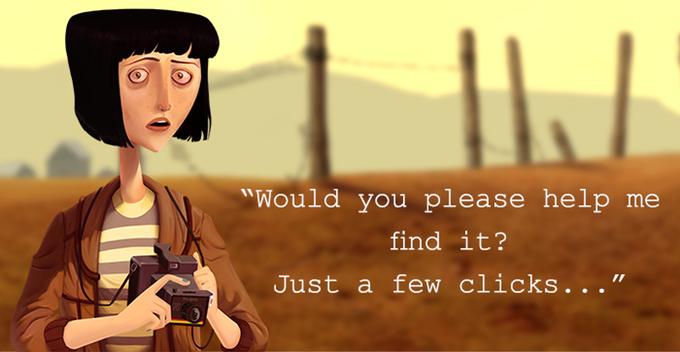 La protagonista, sosteniendo una cámara de fotos, te pregunta si puedes ayudarla a encontrar su nombre.
