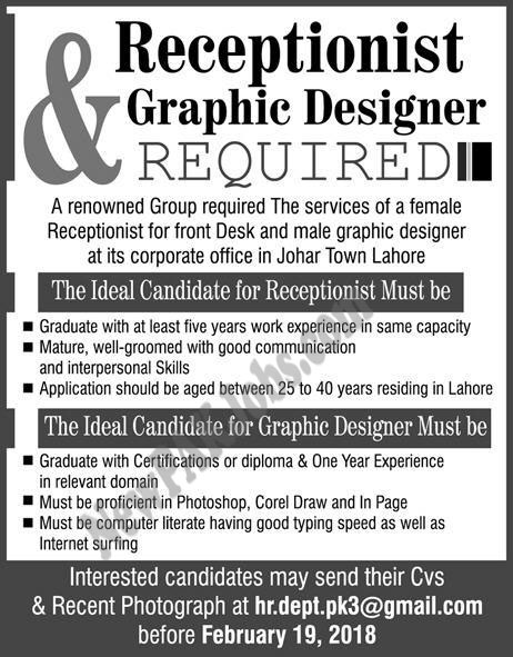 Female Receptionist, Male Graphic Designer Jobs, Apply Through Email