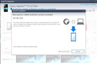 Xperia Tx Initiatory Of All A Novel Fw Update (9.1.B.1.67), Prepared Xperia Sec (6.2.B.0.211)