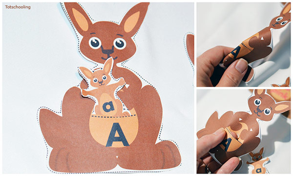 FREE kangaroo matching activity for preschool and kindergarten to match letters, colors, number words and shape words. Great activity for Mother's Day!