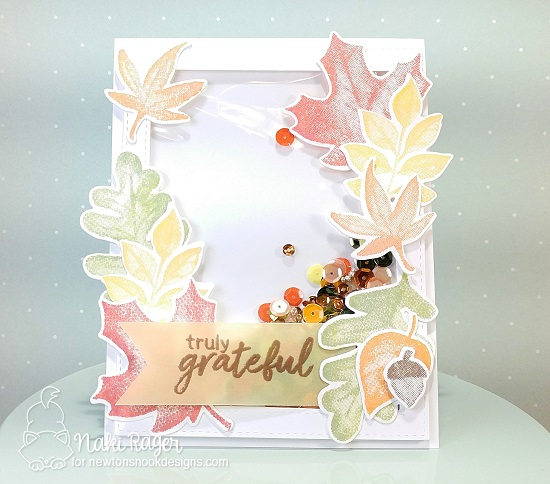Leaf Shaker Card by Naki Rager | Shades of Autumn Stamp Set by Newton's Nook Designs #newtonsnook #handmade