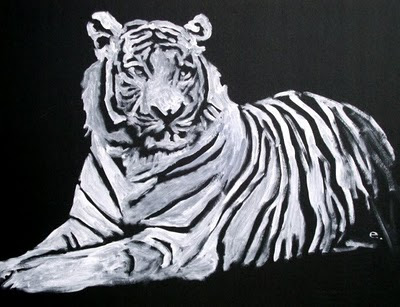 White Tiger Acrylic Painting