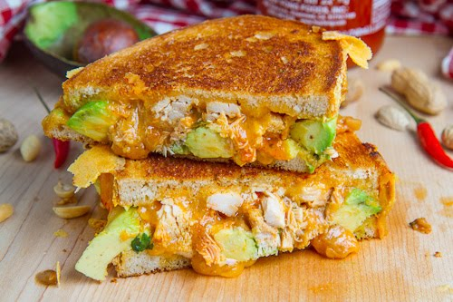 Spicy Peanut Chicken Grilled Cheese Sandwich