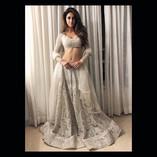 Disha Patani looks stunning in crarm lehenga choli perfect slim abs