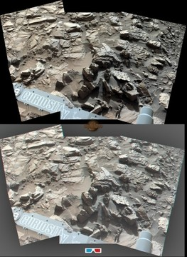Sol 1162 Curiosity Left Mastcam (M-34) Pahrump Hils + 3D Version