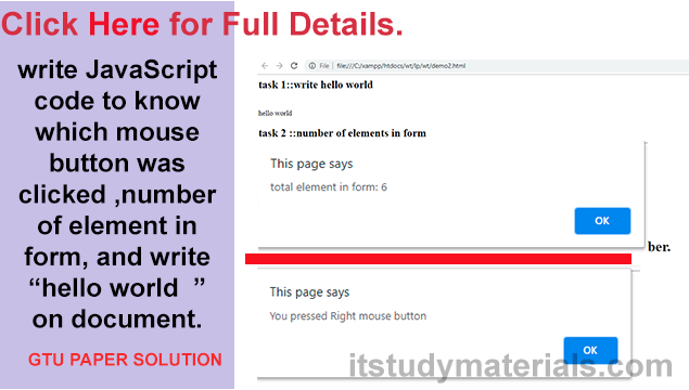 write JavaScript code to know which mouse button was clicked ,number