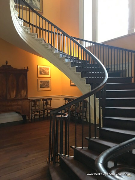 free-flying cantilevered staircase at Nathaniel Russell House Museum in Charleston, South Carolina