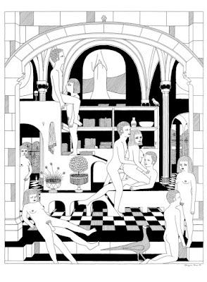 Ilustración sexo en grupo