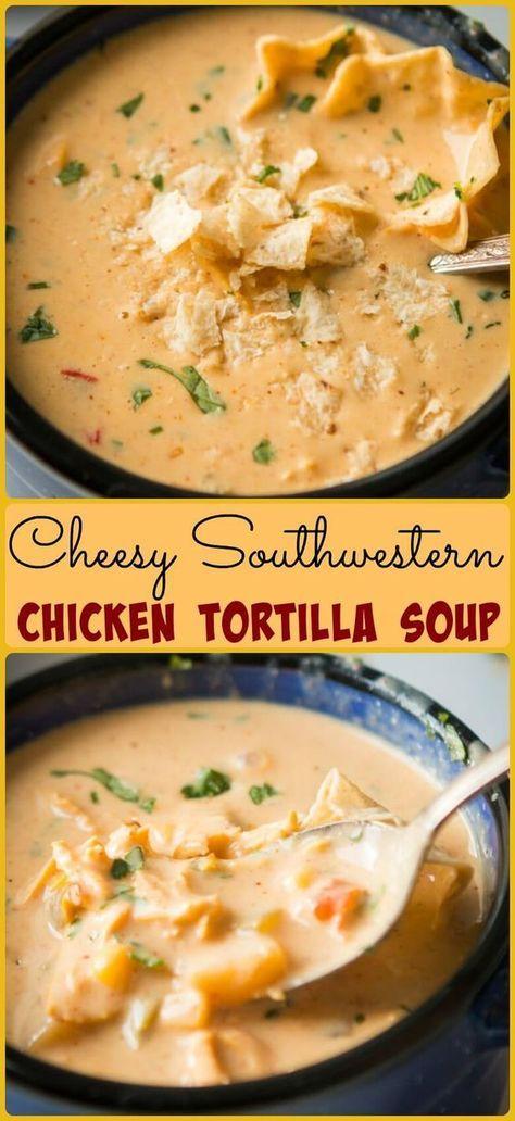 Easy Cheesy Southwestern Chicken Tortilla Soup