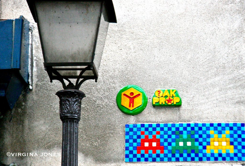 the invasion of the art works of the french urban artist invader Invader, the french street artist here are images shot by photographer jaime rojo of recent work by invader street art tile 'invasion' of new york cut short.