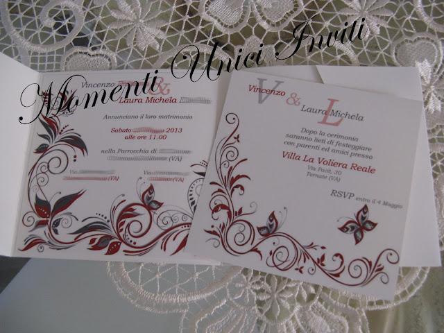 IMG_5148 Partecipazione Pocket in cartoncino perlescente tonalità grigio e rossoColore Grigio Colore Rosso Partecipazioni Pocket