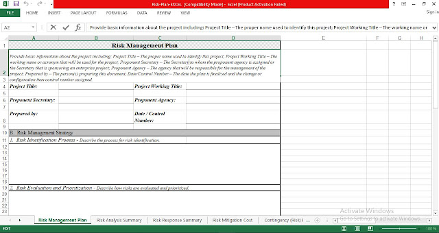 Risk Management Plan Excel Template