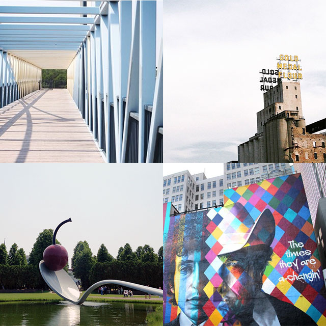 56 Places to Visit in Minneapolis: Path to the Walker, Mill City Museum, Cherry on a Spoon, Bob Dylan Mural