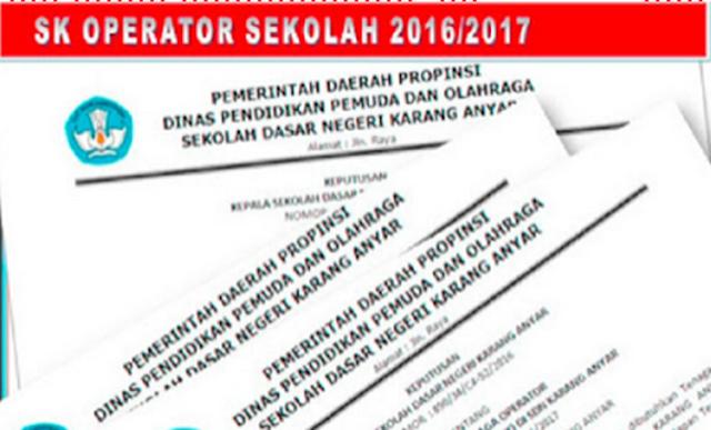 Contoh Format SK Operator Terbaru 2016-2017