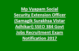 Mp Vyapam Social Security Extension Officer (Samagik Surakhsa Vistar Adhikari) SSEO 384 Govt Jobs Recruitment Exam Notification 2017