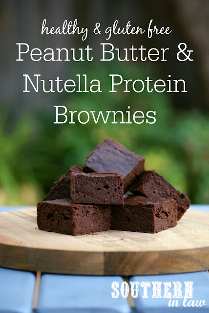 Healthy Peanut Butter and Nutella Protein Brownies Recipe | low fat, gluten free, clean eating friendly, high protein, low carb, healthy