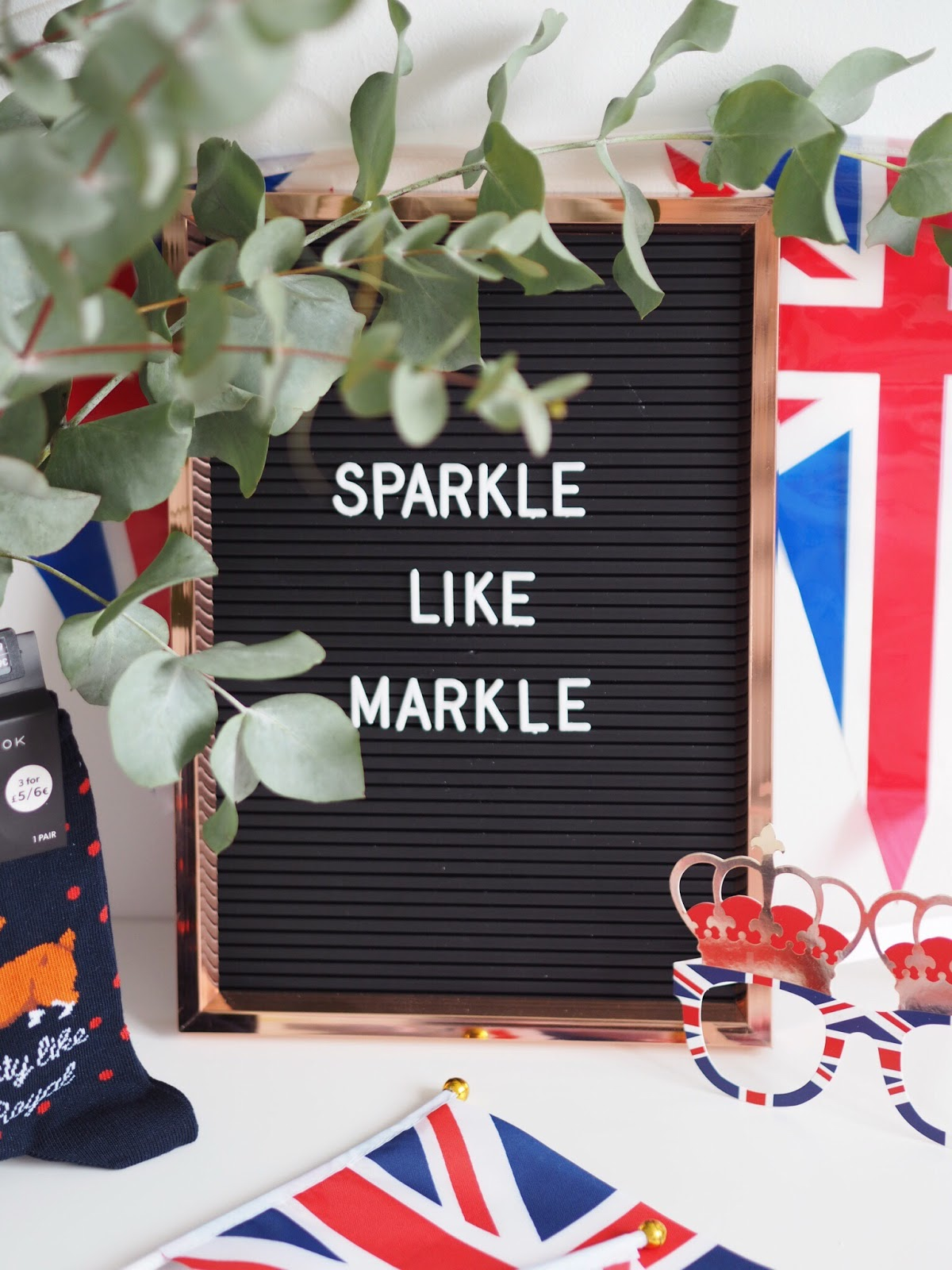 Primark Copper Peg Board with Sparkle Like Markle written on with union jack memorobillia