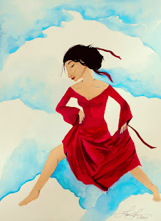Cloud Dancing by the Sky Warrior Original Watercolor Painting by Jeanne Fry