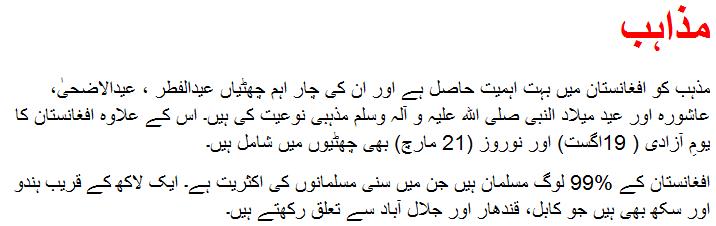 Taliban essay in Urdu