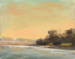 Oil painting of a distant coastal scene close to sunset.