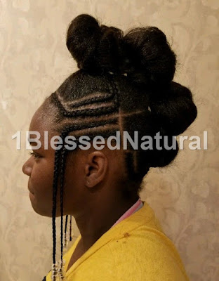 bun moahwk with Fulani braids