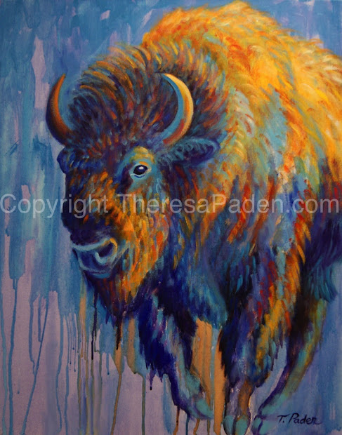 Paintings Theresa Paden Abstract Southwestern Bison Contemporary Wildlife Art American