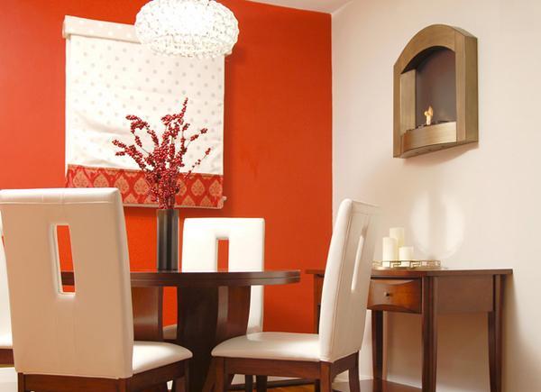sentuhan warna merah dalam ruang makan rancangan desain