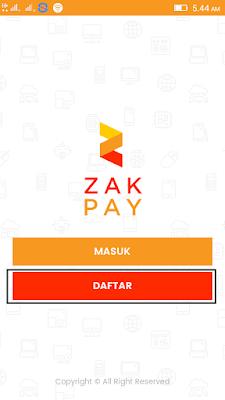 cara daftar di Aplikasi Zakpay Android