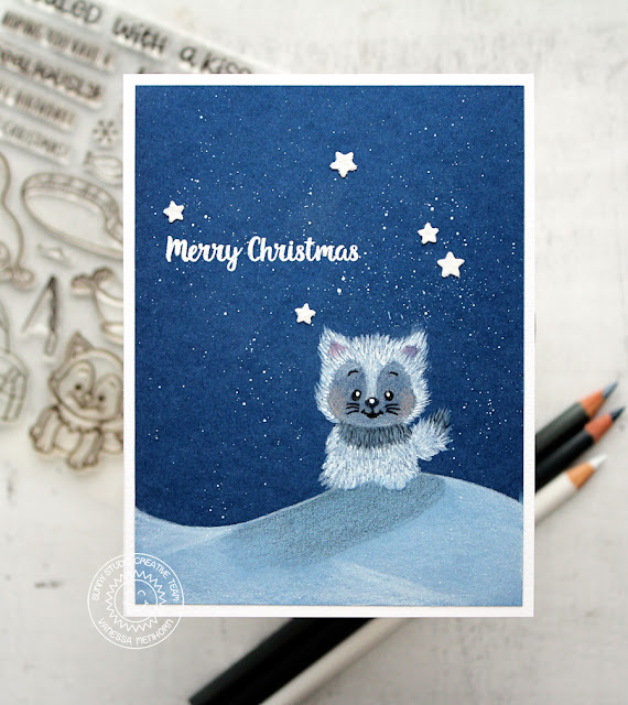 Sunny Studio Stamps: Polar Playmates Fluffy Husky Christmas Card by Vanessa Menhorn
