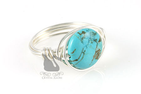 Howlite Turquoise Gemstone Bead Ring (R102)