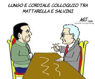 Salvini, Mattarella, 49 milioni, vignetta, satira