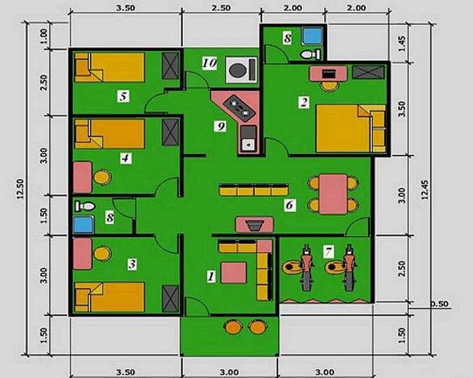 56 Model Desain Rumah Ukuran 9x12 Terpopuler
