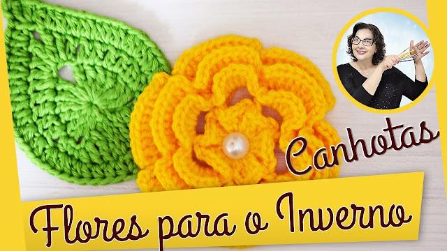 Edinir Croche ensina Como fazer essa linda flor em crochê de inverno para canhotos com edinir croche