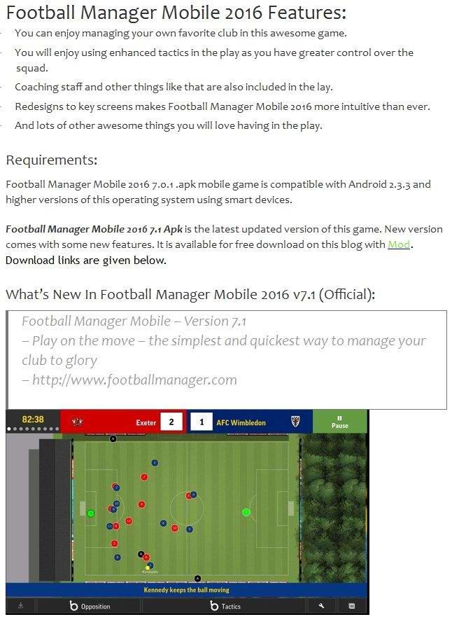football manager mobile 2016 v7.2.1 apk