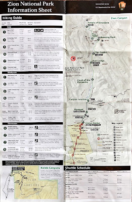 Zion National Park Information Sheet