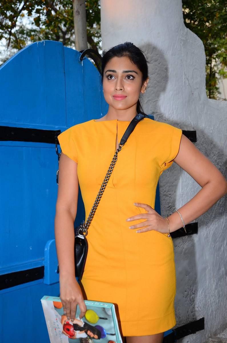 Indian Actress Shriya Saran Hot Thighs Legs Show Photos In Mini Yellow Dress
