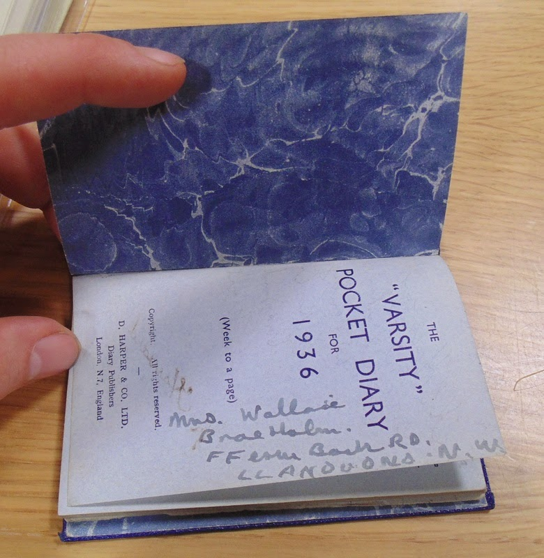 Blue diary - inside cover (National Archives KV 2/27)